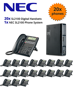 NEC SL2100 Telephone System with 20 Digital Handsets