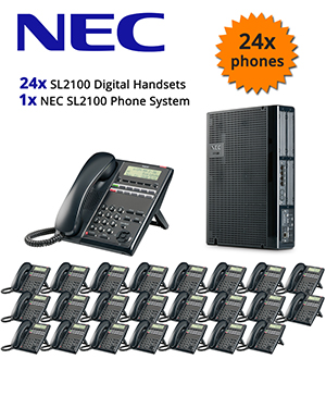 NEC SL2100 Telephone System with 24 Digital Handsets