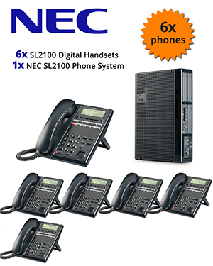 NEC SL2100 Telephone System with 6 Digital Handsets
