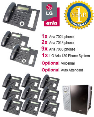 LG Aria 130 Phone System with 12 Handsets: PACK 5 for Medium Business, 9x 7008 Telephones, 2x 7016 Handset, 1x 7024 Handset