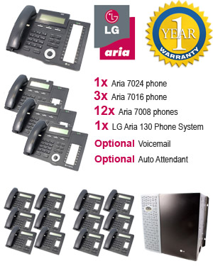 LG Aria 130 Phone System with 15 Handsets: PACK 6 for Large Business, 12x 7008 Telephones, 3x 7016 Handset, 1x 7024 Handset