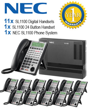 NEC SL1100 Telephone System with 12 Handsets