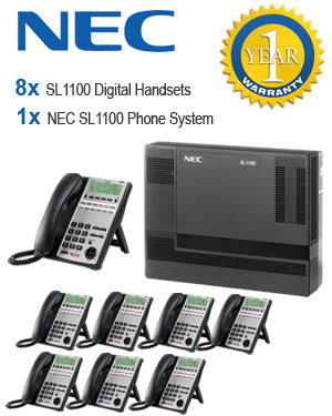 NEC SL1100 Telephone System with 8 Handsets