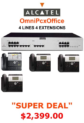 """ALCATEL OmniPcx 4 Line, 4 Digital Handsets, Music Onhold Plug Business Phone System In a Box """" Very Easy installation"""" Plug and Play NEW Business Telephone System with Optional Handsets and Cordless Phones"""