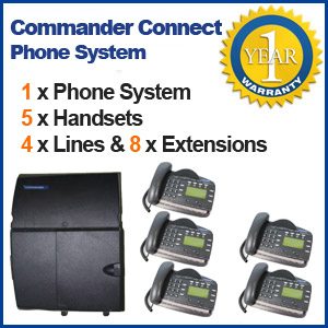 "4 Line, 5 Digital Handsets, Music Onhold Plug Business Phone System In a Box "" Very Easy installation"" Plug and Play Refurbished Business phone System with Optional Handsets and Cordless Phones"