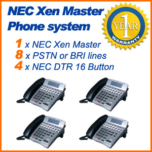 NEC Xen Master Phone system 8x Lines 4x Phones Refurbished Used Pre-Owned