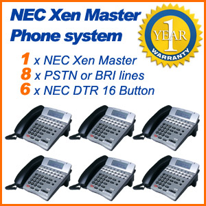 NEC Xen Master Phone System 8 Lines 6 Phones Refurbished