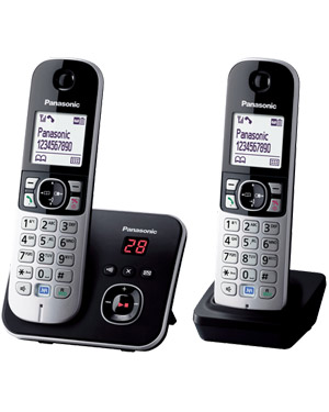 Panasonic KX-TG6822 Cordless Phone Twin Pack, Noise Reduction, Call Blocker, Answering Machine (KX-TG6822)