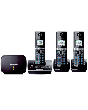 Panasonic Premium DECT KX-TG8033 Cordless Phone & 18 min Answering Machine +2 Additional Handset (KX-TG8033)