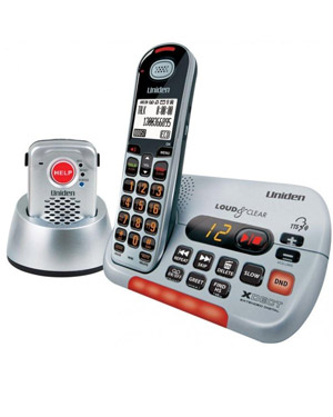 Uniden SSE35+P Bundle Pack Cordless Telephone with Wireless Emergency Alert Pendant. Visual & Hearing Impaired Phone