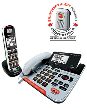 Uniden SSE37+1 Visual & Hearing Impaired Digital Corded Telephone & Cordless Handset - Compatible with Wireless Emergency Alert Pendant