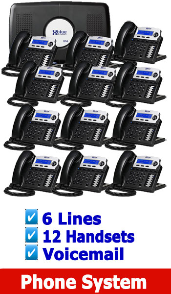 XBlue NEW BUSINESS PHONE SYSTEM, 4 Lines up to 16 Handsets (included is Voicemail) 6 Lines 12 Digital Handsets.