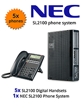 NEC SL2100 Telephone System with 5 Digital Handsets