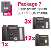 LG Aria 130 Phone System with 15 Handsets: PACK 7 for Large Business, 30 PRI ISDN channel, 12x 7008 Telephones, 3x 7016 Handset, 1x 7024 Handset