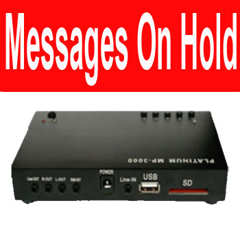 The Platinum MP-3000 is an Advertising on Hold player which can be connected to any PABX/KTS to provide music/messages to callers put on hold in your business.