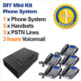 MiniKit DIY SMALL BUSINESS PHONE SYSTEM, 3 Lines, 5 Handsets, Voicemail