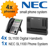 NEC SL1100 Telephone System with 4 Handsets