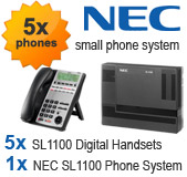 NEC SL1100 Telephone System with 5 Handsets