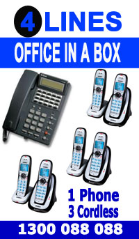 """4 Line, One Digital Handset, 3 Cordless Phones, Music Onhold Plug Business Phone System In a Box """" Very Easy installation"""" Plug and Play NEW, Business Telephone System with Optional Handsets and Cordless Phones."""