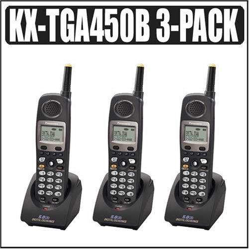 Panasonic Additional 3 Handset Pack for Panasonic KXTG4500B (KX-TGA450B) KX-TG4500 Panasonic 4 Line cordless phone system for Small Business TelePhone System With 8 Voicemanil Boxes.