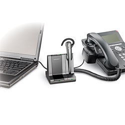 Savi Office Convertible integrates your desk phone and your PC for the ultimate wireless headset system. Seamlessly switch from your desk phone to your PC for VOIP calls.