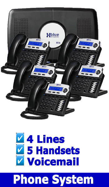 X Blue NEW BUSINESS PHONE SYSTEM, 4 Lines 5 Handsets