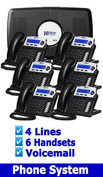 NEW SMALL OFFICE BUSINESS PHONE SYSTEM, 4 Lines 6 Handsets included Voicemail