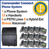 Commander Connect Telephone System 12 Handsets 6 PSTN Lines, 8 Digital Extensions and VOICEMAIL (Refurbished)