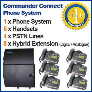 Commander REFURBISHED business telephone System - 4 Line, 6 Digital Handsets