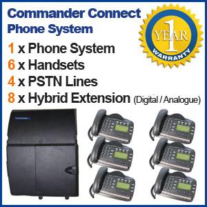 Commander REFURBISHED business telephone System - 4 Line, 6 Digital Handsets