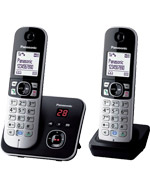 Panasonic KX-TG6822 Cordless Phone Twin Pack, Noise Reduction, Call Blocker, Answering Machine (KX-TG6822)