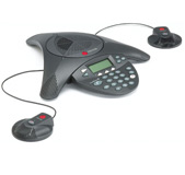 Polycom Soundstation2 Conference Phone Including Display Screen and Dual Microphones, for medium to large conference rooms.