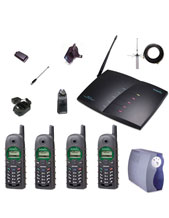 Engenius Quad Pack-B10 1 x Four Line Base, 4 Handsets, 4 chargers, 8 Batts, 4 Belt Clips, 4 Short HS Ants and 4 Long HS Ants, 4 Durapouches, AK10L ext ant., lightning kit and SC1000 UPS