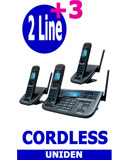 Uniden R055 3 Handsets, 2 Line Small Business Cordless Phone System, Including Answering Machine, Uniden XDECT R055 + 2 Extended Long Range Cordless Telephone System